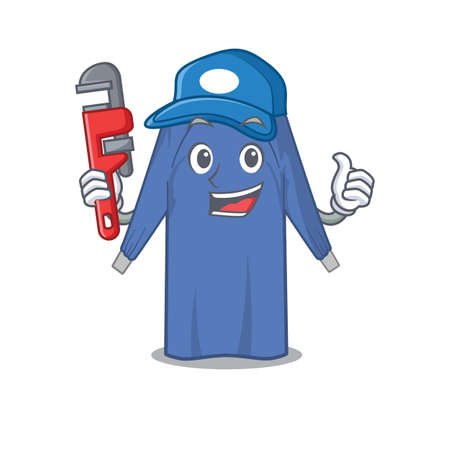 cartoon character design of disposable clothes as a Plumber with tool. Vector illustration
