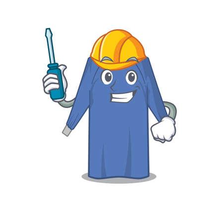disposable clothes caricature design concept worked as an automotive mechanic. Vector illustration Vektoros illusztráció