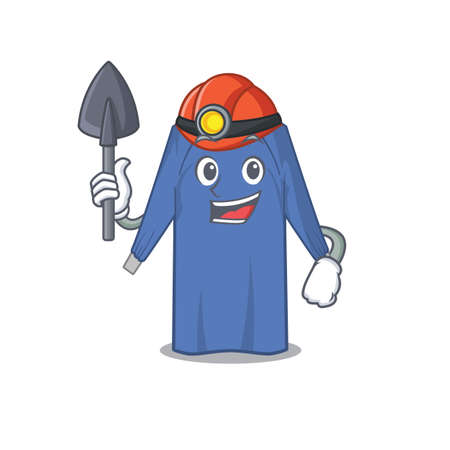A cartoon picture of disposable clothes miner with tool and helmet. Vector illustration