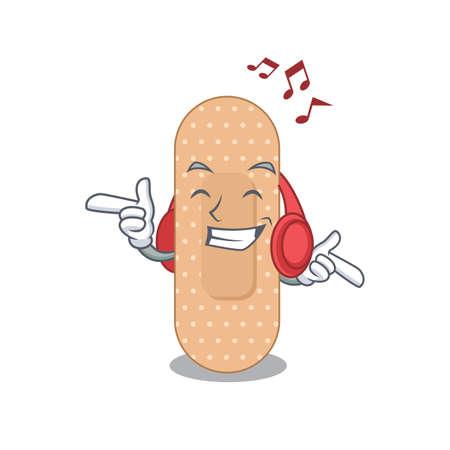 A Caricature design style of standard bandage listening music on headphone. Vector illustration