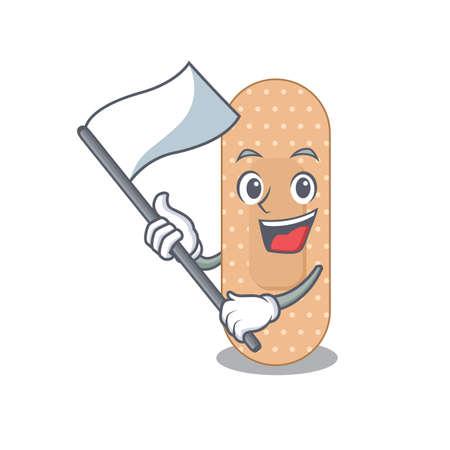 A brave standard bandage mascot character design holding a white flag. Vector illustration 免版税图像 - 151099213