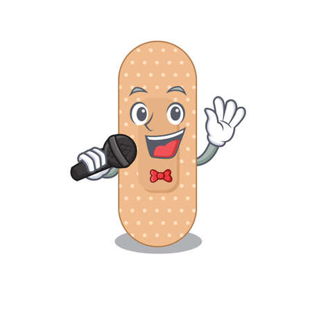 caricature character of standard bandage happy singing with a microphone. Vector illustration Vettoriali