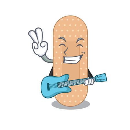 Standard bandage musician cartoon design playing a guitar. Vector illustration
