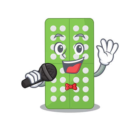 caricature character of medicine pills happy singing with a microphone. Vector illustration