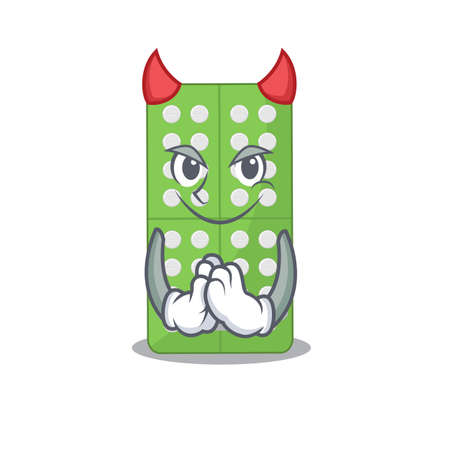 Medicine pills clothed as devil cartoon character design on Halloween night. Vector illustration Ilustracja