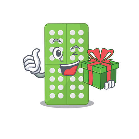 Medicine pills cartoon character concept with a big gift box. Vector illustration Ilustrace