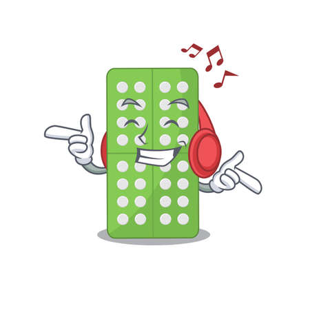 A Caricature design style of medicine pills listening music on headphone. Vector illustration