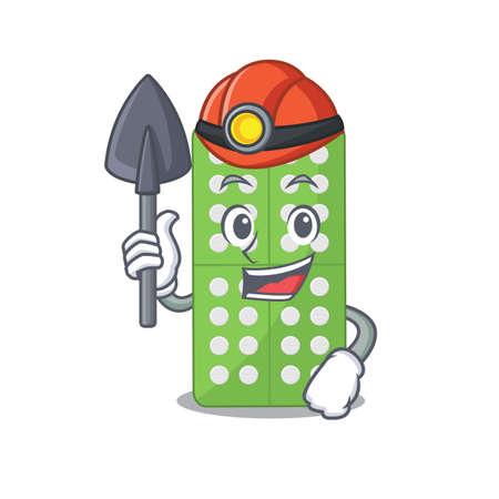 Medicine pills cartoon image design as a miner with tool and helmet. Vector illustration