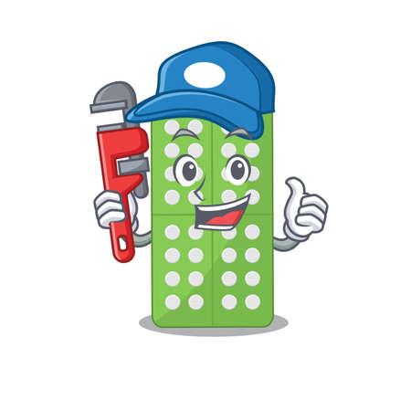 cartoon mascot design of medicine pills as a Plumber with tool. Vector illustration