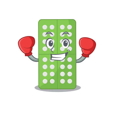 Medicine pills Caricature character design as a champion of boxing competition. Vector illustration