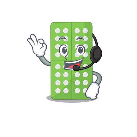 Medicine pills caricature character concept wearing headphone. Vector illustration