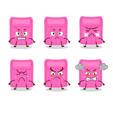 Air mattress cartoon character with various angry expressions. Vector illustration