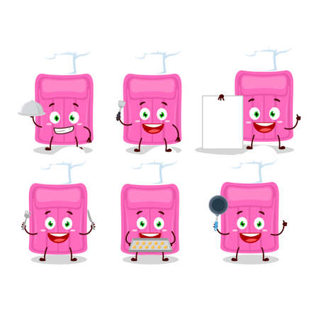 Cartoon character of air mattress with various chef emoticons. Vector illustration