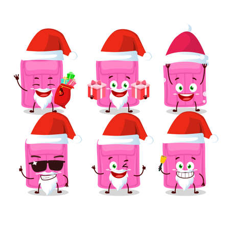 Santa Claus emoticons with air mattress cartoon character. Vector illustration