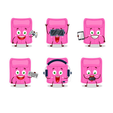 Air mattress cartoon character are playing games with various cute emoticons. Vector illustration Stock Illustratie
