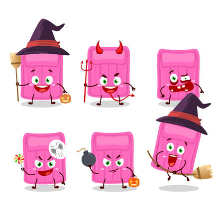 Halloween expression emoticons with cartoon character of air mattress. Vector illustration