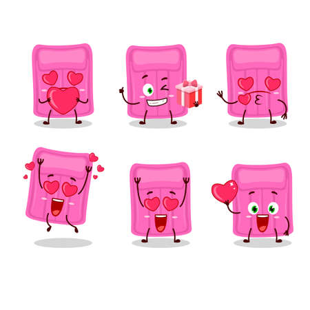 Air mattress cartoon character with love cute emoticon. Vector illustration