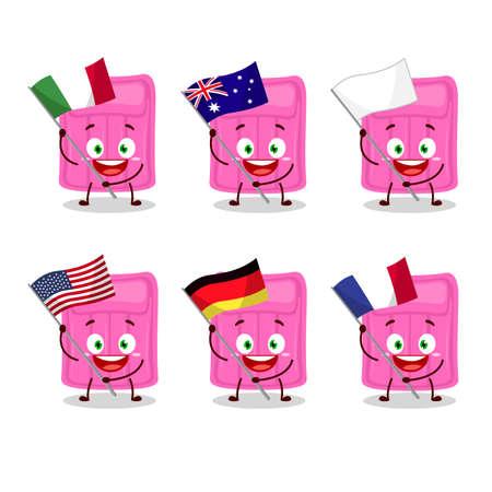 Air mattress cartoon character bring the flags of various countries. Vector illustration