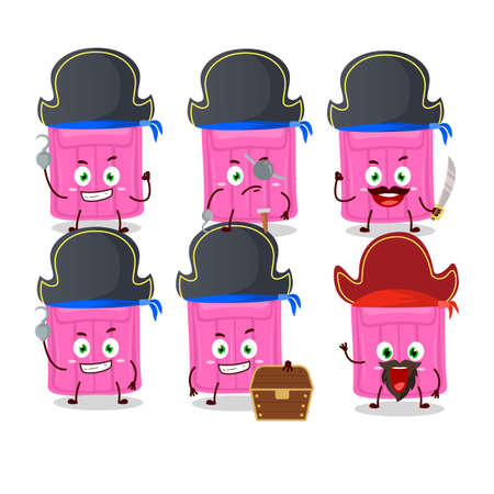 Cartoon character of air mattress with various pirates emoticons. Vector illustration Stock Illustratie