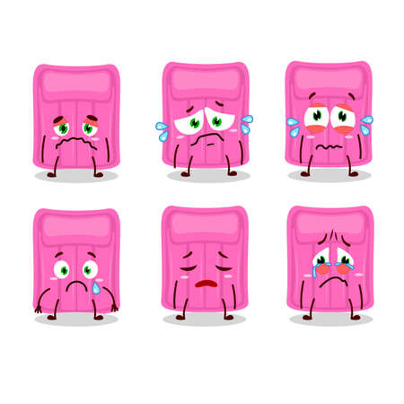 Air mattress cartoon character with sad expression. Vector illustration