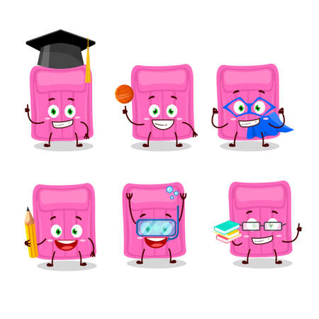 School student of air mattress cartoon character with various expressions. Vector illustration Stock Illustratie