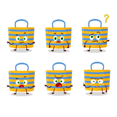 Cartoon character of beach bag with what expression. Vector illustration