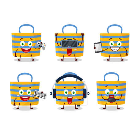 Beach bag cartoon character are playing games with various cute emoticons. Vector illustration Vettoriali