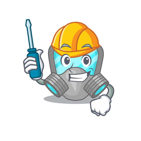 Respirator mask caricature design concept worked as an automotive mechanic. Vector illustration Vektoros illusztráció