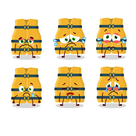 Life vest cartoon character with sad expression. Vector illustration Illustration