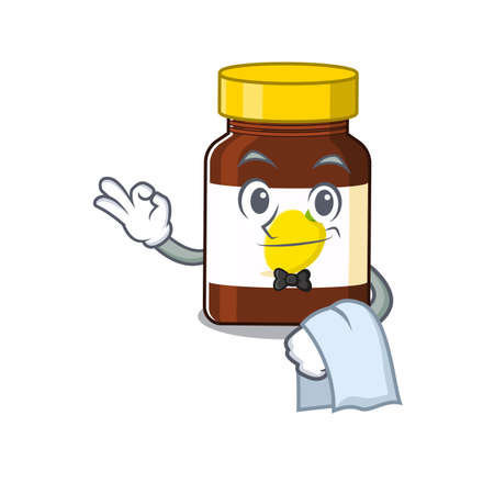 A cartoon picture of bottle vitamin c waiter with a white napkin.