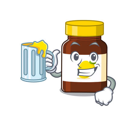 A cartoon concept of bottle vitamin c with a glass of beer.