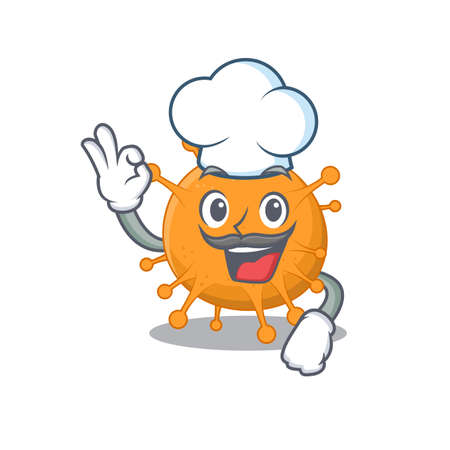 Talented anaplasma chef cartoon drawing wearing chef hat