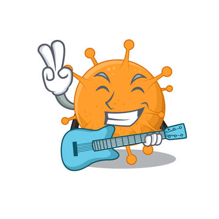 brilliant musician of anaplasma cartoon design playing music with a guitar.Vector illustration