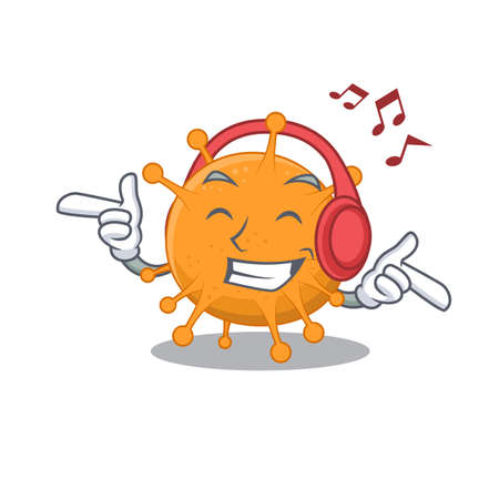 Anaplasma Cartoon design concept listening music on headphone.Vector illustration