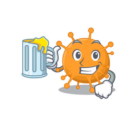A cartoon concept of anaplasma with a glass of beer.Vector illustration