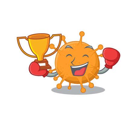 An elegant boxing winner of anaplasma caricature design concept.Vector illustration 矢量图像