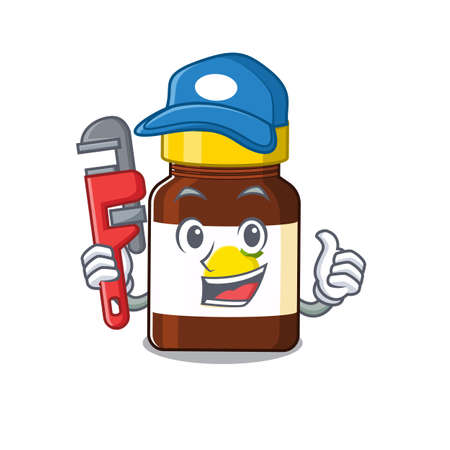 cartoon character design of bottle vitamin c as a Plumber with tool. Vector illustration