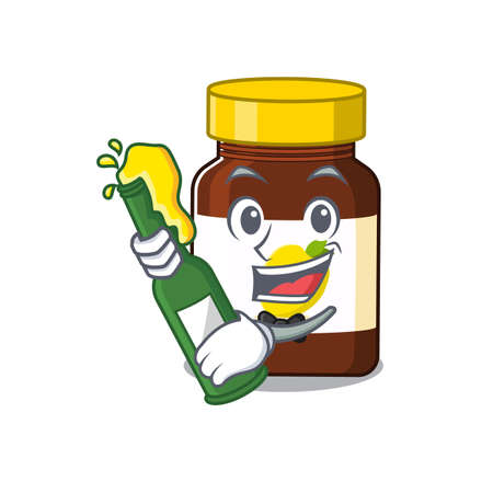 caricature design concept of bottle vitamin c cheers with bottle of beer. Vector illustration