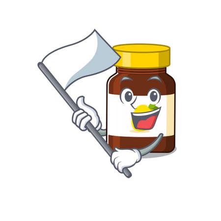 A heroic bottle vitamin c mascot character design with white flag. Vector illustration