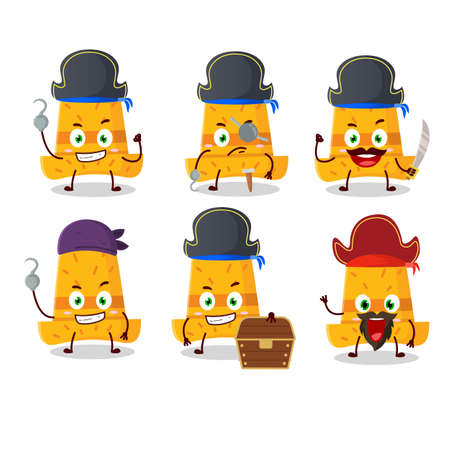Cartoon character of straw hat with various pirates emoticons. Vector illustration