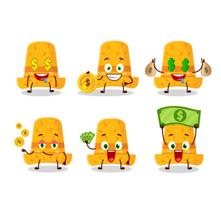 Straw hat cartoon character with cute emoticon bring money. Vector illustration