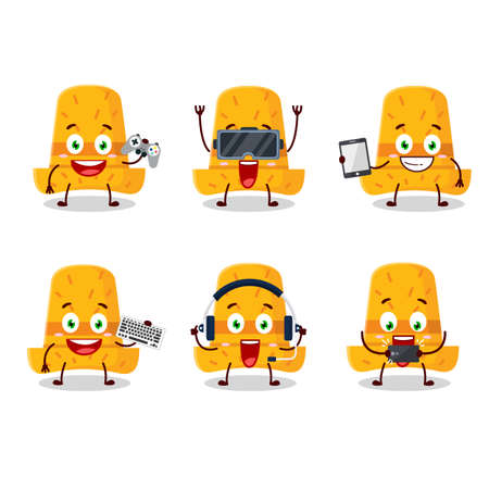 Straw hat cartoon character are playing games with various cute emoticons. Vector illustration