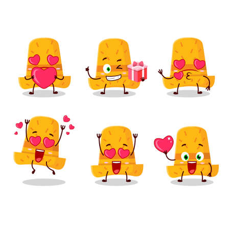 Straw hat cartoon character with love cute emoticon. Vector illustration Çizim
