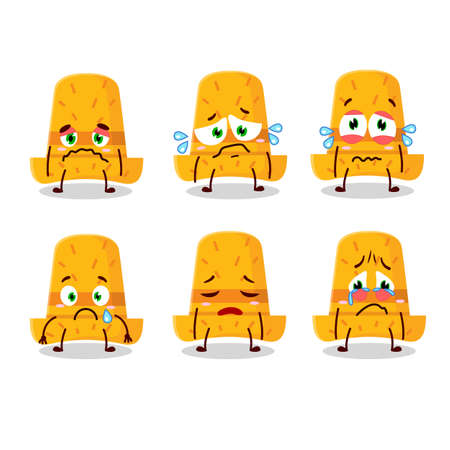 Straw hat cartoon character with sad expression. Vector illustration Çizim