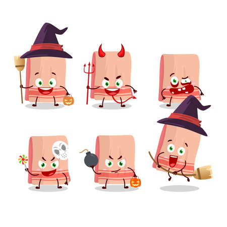 Halloween expression emoticons with cartoon character of towel. Vector illustration