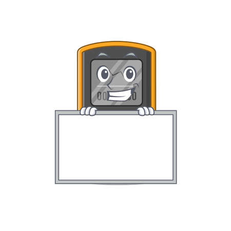 Funny cartoon design style dive computer standing behind a board. Vector illustration