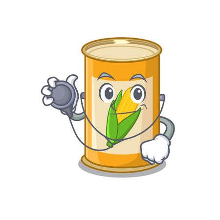 Smiley doctor cartoon character of corn tin with tools Zdjęcie Seryjne