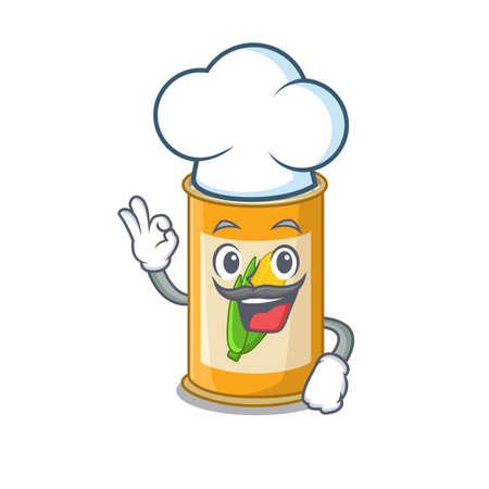 Talented corn tin chef cartoon drawing wearing chef hat