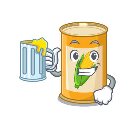 A cartoon concept of corn tin with a glass of beer