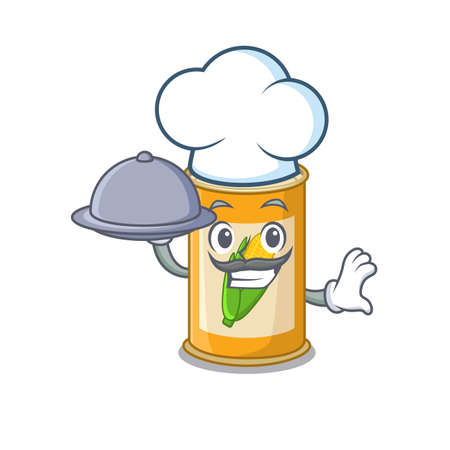 mascot design of corn tin chef serving food on tray
